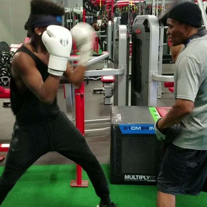 "Kyle ""Quick Hands"" Sanford wearing Stealthletic Boxing Gloves while training with the Master ""Don House"" #Stealthletic.com #quickhands #ufc #ufccutman"